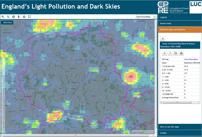 on dark skies map