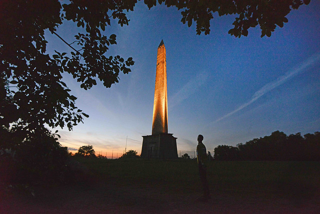 Wellington Monument at night. Photo: National Trust Fran Stothard