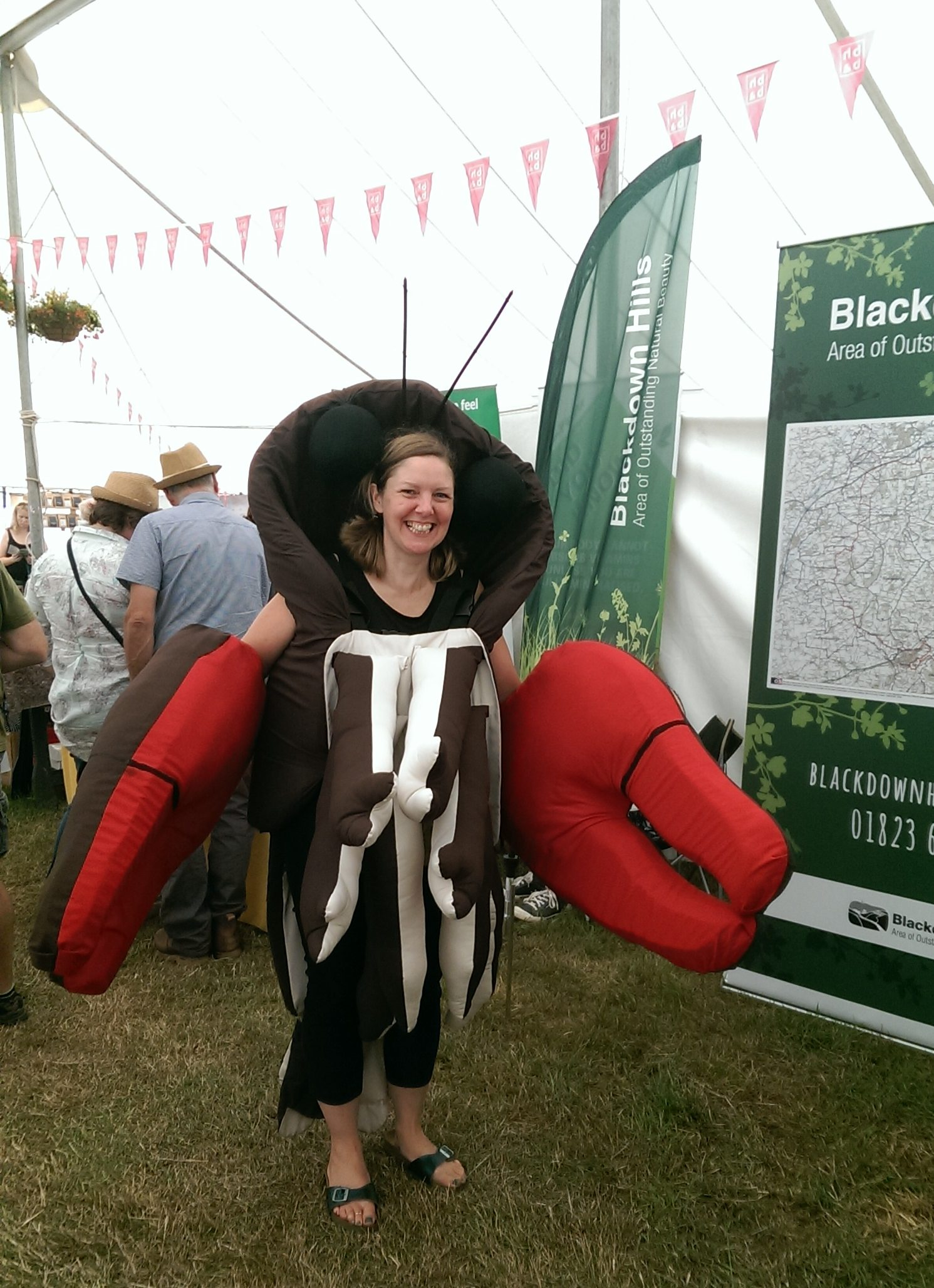 Communications Officer, Clare, in signal crayfish costume at Honiton Show 2018