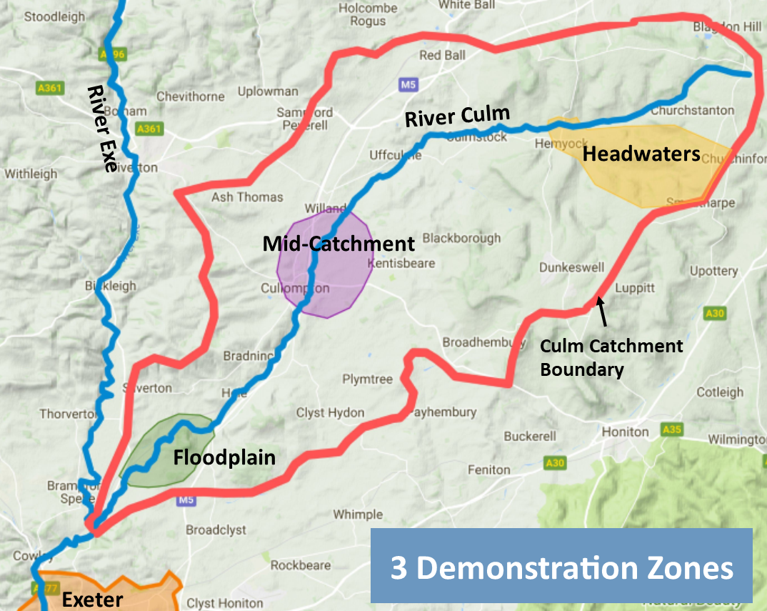 Map showing demonstration zones in the river Culm catchment