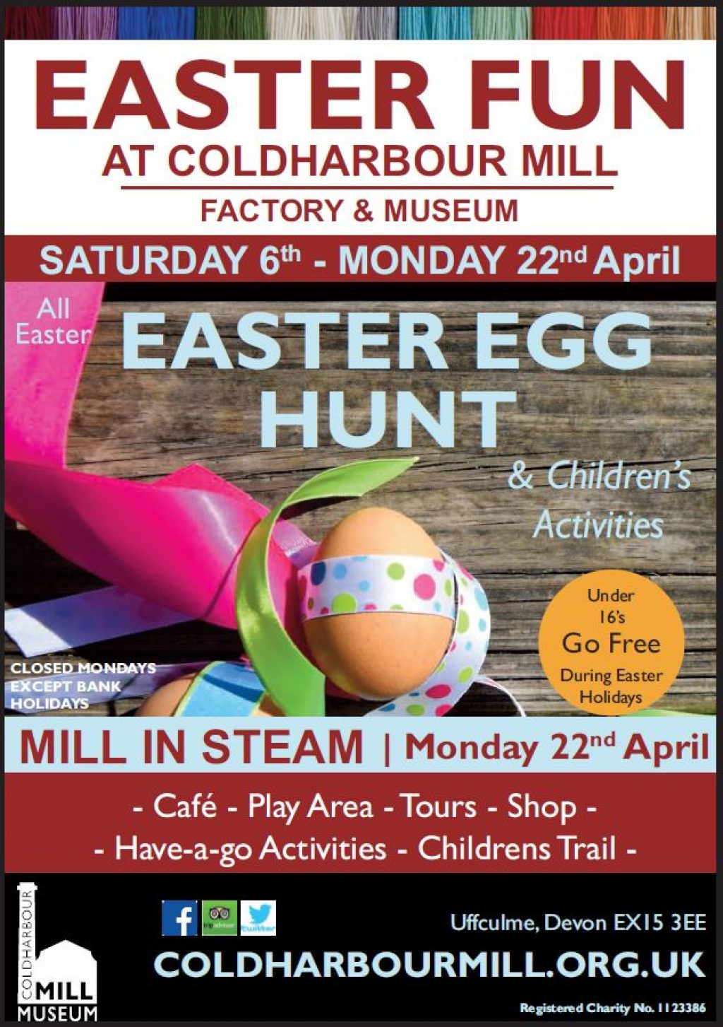 Coldharbour Mill Easter Egg Hunt & Mill in Steam Monday 22 April. Cafe, play area, tours, have-a-go activities, children's trail.