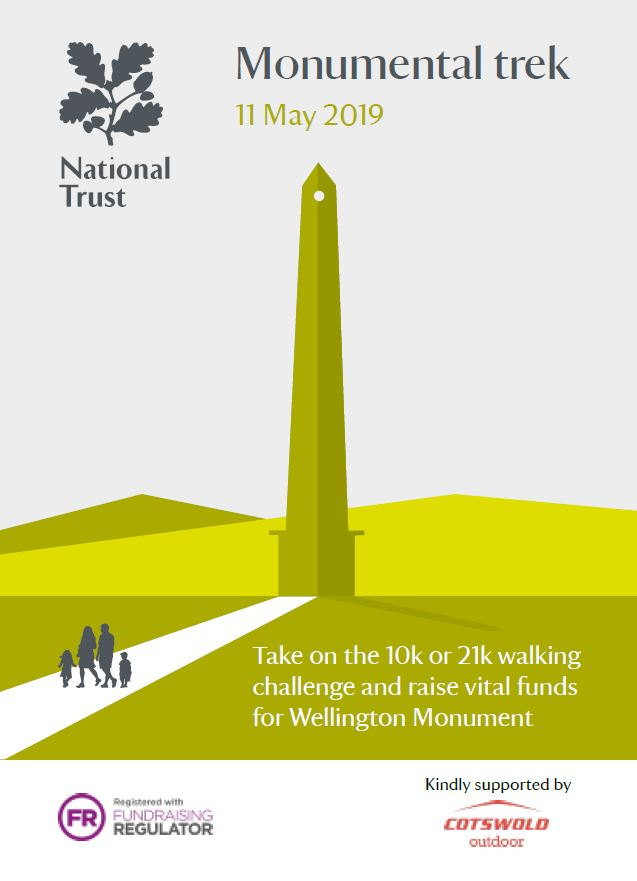 Monumental Trek. 11 May 2019. Take on the 10k or 21k walking challenge and raise vital funds for Wellington Monument organised by National Trust.