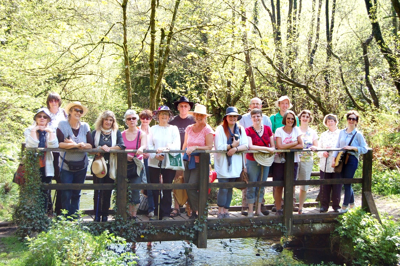 The Sing and Stroll participants at Otterhead Lake posing on the footbridge for a photo.