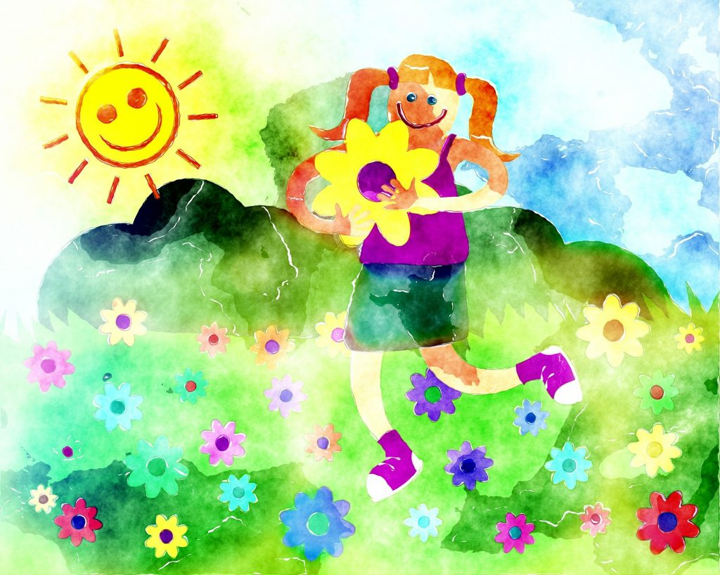 Watercolour girl with flowers and sunshine