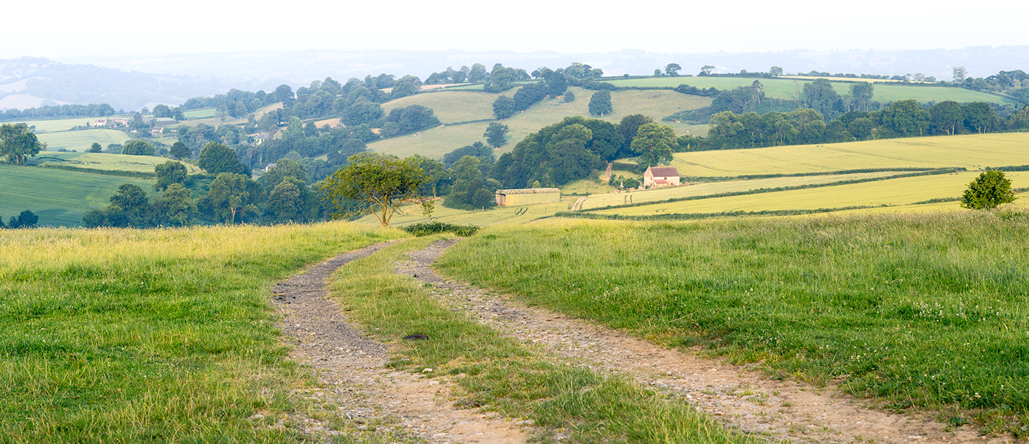 Farm track with countryside scene in background