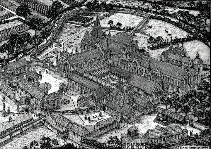 A black and white illustration of how Dunkeswell Abbey would have looked