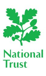 National Trust with a green silouette of oak leaves and acorns