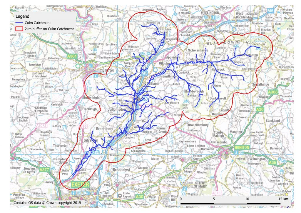 River Culm catchment map