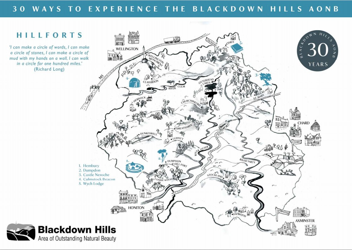 Map of hillforts in the Blackdown Hills