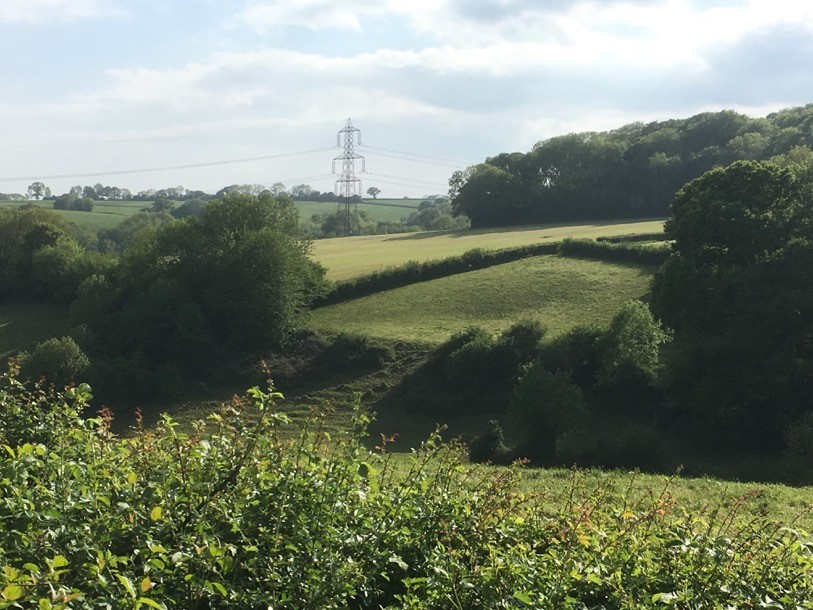 A countryside scene with fields, trees and hedgerows with a pilon on the skyline.