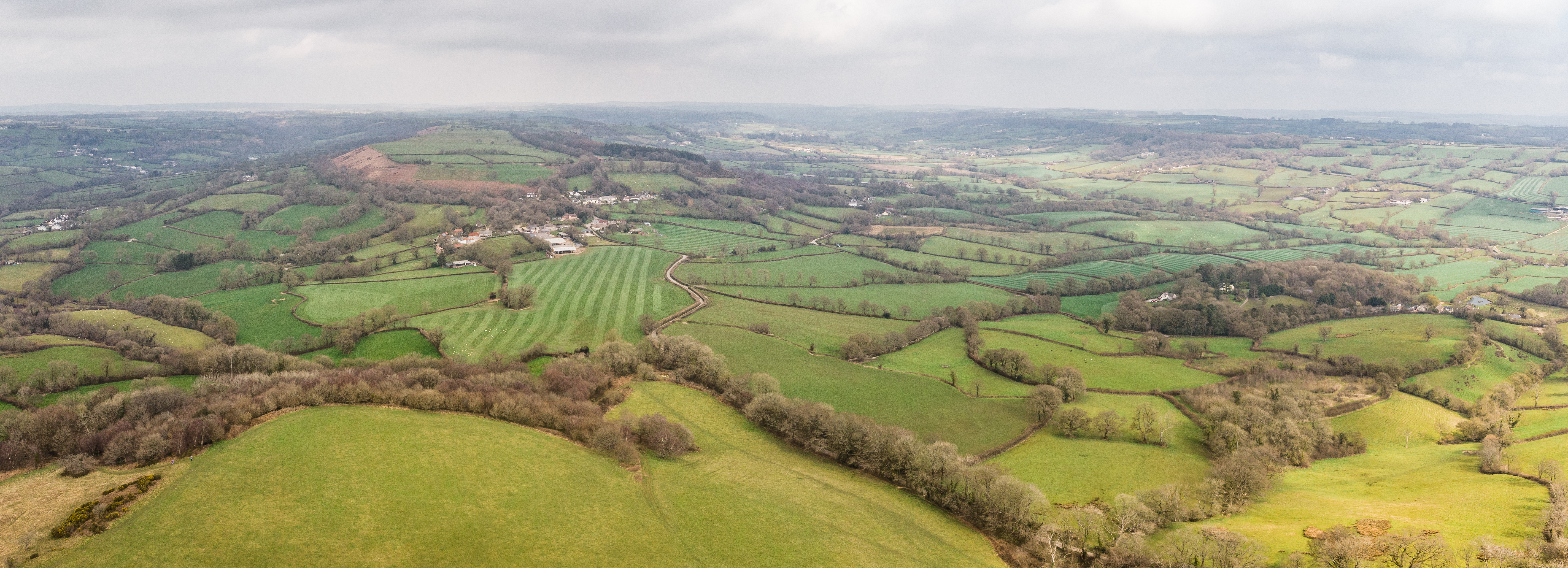 Aerial view north from Dumpdon Hill showing the field patterns and hedgerows