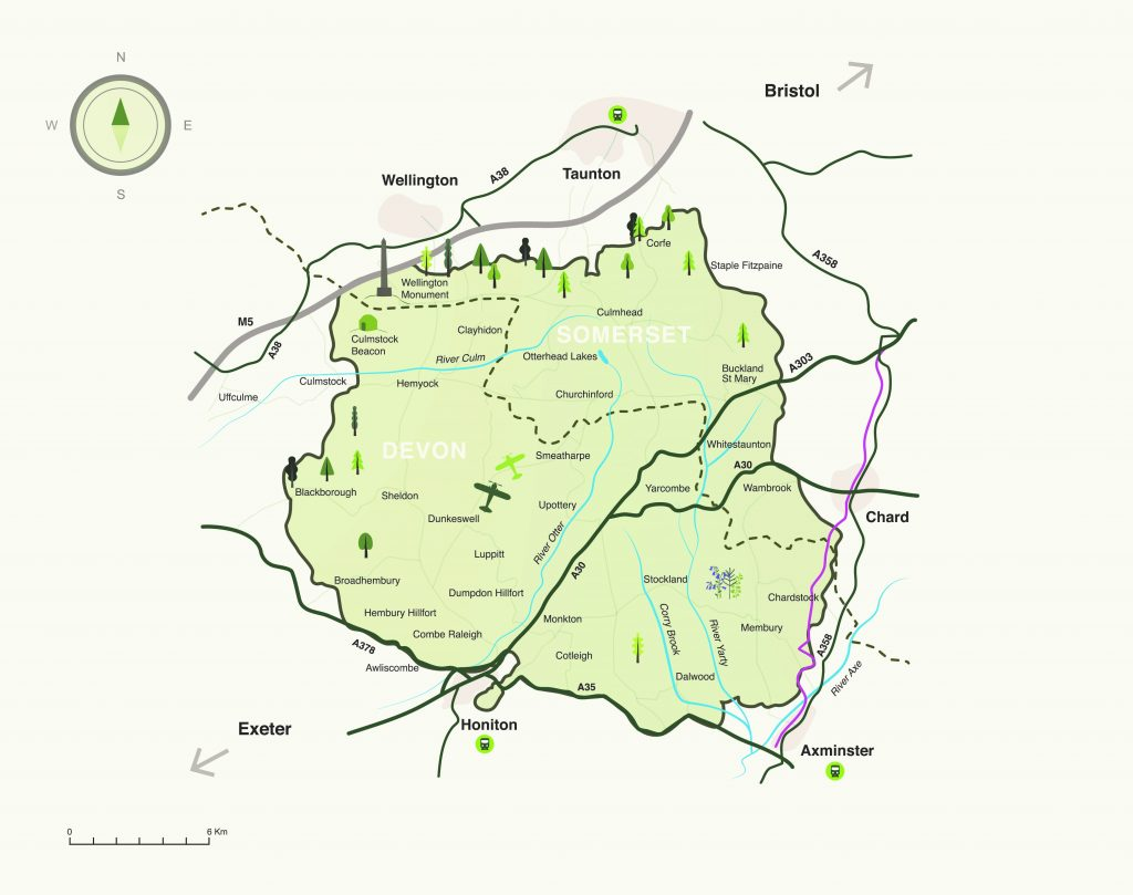 Blackdown Hills AONB map